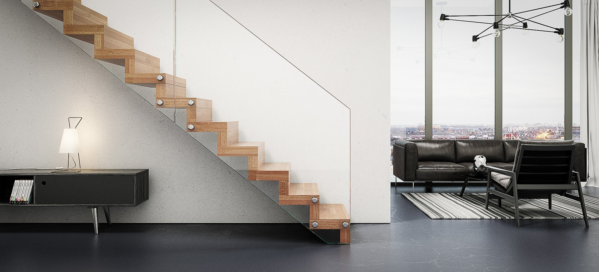 treppe mit glas a aus glas fly siller treppen bild. Black Bedroom Furniture Sets. Home Design Ideas